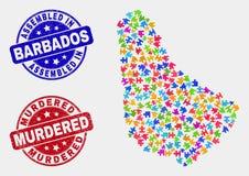 Teil-Barbados-Karte und Schmutz-zusammengebaute und ermordete Wasserzeichen vektor abbildung