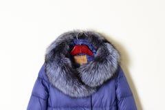 Teil blauer Frau ` s Jacke, unten Jacke mit einer Haube mit natürlichem Pelz Stockfotografie