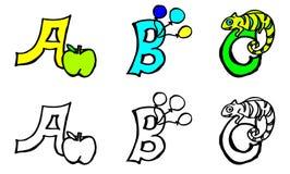Teil 1 Buchstaben eines b c Malbuches mit Bildern auf deutsches und englisch lizenzfreie abbildung