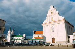 Teil der alten Stadt - Dreiheits-Hügel - historische Mitte (Nemiga) Stockfoto