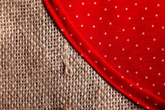Teil der eco Tasche gemacht aus aufbereitetem Sack des groben Sackzeugs heraus Stockfotografie