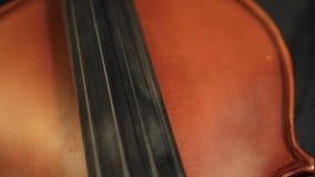 Teil der gealterten Violine auf schwarzem Hintergrund stock video