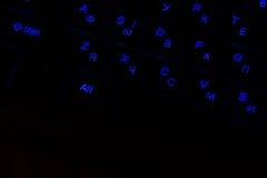 Teil der Tastatur mit hintergrundbeleuchteten Schlüsseln Stockbilder