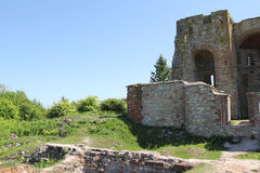 Teil der zerstörten Kirche Stockbilder
