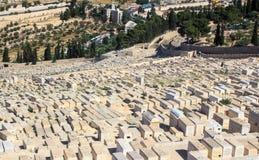 Teil des alten jüdischen Kirchhofs in Jerusalem Lizenzfreies Stockfoto