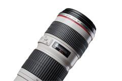 Teil des Berufskameraobjektivs lokalisiert auf Weiß Stockfotografie