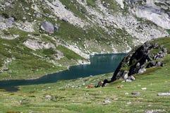 Teil des Doppel (Bliznaka) Sees und der Pferde Lizenzfreies Stockfoto