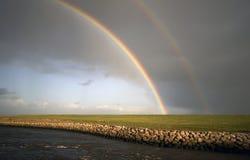 Teil des doppelten Regenbogens Lizenzfreies Stockfoto