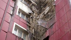 Teil des Gebäudes beschädigt durch Feuer stock video footage