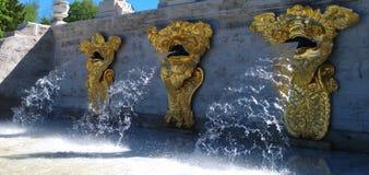 Teil des Marlinsky-Kaskade ` Gold-Berg-` in Petrodvorets Die Wasserströme von den Köpfen der drei vergoldeten Seeungeheuer Stockfotos