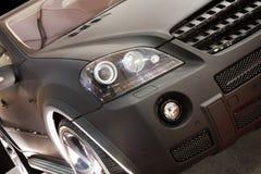 Teil des neuen schwarzen Autos Stockfoto