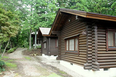 Teil des russischen ländlichen Hauses der Wände Stockbilder