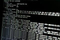 Teil des Systemprotokolls von einem web server, während des Cyberangriffs FI Stockfoto