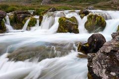 Teil des Wasserfalls Dynjandi, lange Belichtung, Island Stockbild