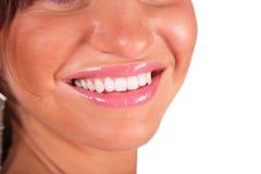 Teil des weiblichen Gesichtes durch Nahaufnahme. Lizenzfreie Stockfotos