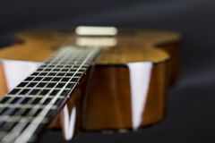 Teil einer orange Akustikgitarre auf schwarzer Hintergrundnahaufnahmeschuss-Schwalbe Beschädigung durch Fremdkörper stockbild