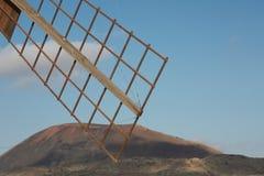 Teil eines alten Windtausendstels in der Fuerteventura-Insel Stockfotografie