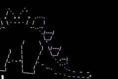 Teil eines Dinosauriers gezeichnet in ASCI-Kunst auf dem Anschluss stockfotografie