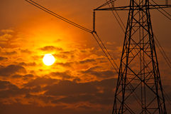 Teil eines Elektrizitätsgondelstiels Lizenzfreie Stockfotografie