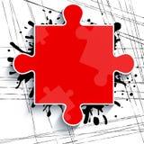 Teil eines roten Puzzlespiels auf einem weißen Hintergrund mit Anschlägen der Farbe Stockfoto