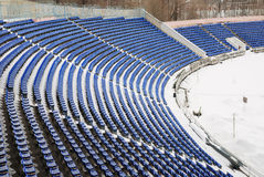 Teil eines snow-covered Stadions Stockfotos