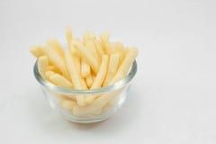 Teil Pommes-Frites (gebratene Kartoffeln) in der Schüssel Lizenzfreies Stockfoto