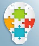 Teil Puzzlespiele in Form von Glühlampen. Creati Lizenzfreie Stockbilder