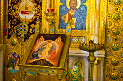 Teil von Iconostasis in Curtea de Arges, Rumänien stockfotos
