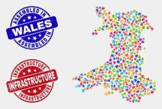 Teil-Wales-Karte und beunruhigen zusammengebaute und Infrastruktur-Dichtungen lizenzfreie abbildung