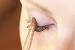 Teil weibliches Augenmake-up des Gesichtes, das mit Bürste zutrifft Lizenzfreies Stockfoto