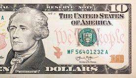 Teil zehn Dollarschein Amerikanergeld Lizenzfreies Stockbild
