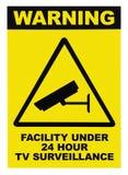 Teildienst geschützt durch videoüberwachungtextzeichen Stockbilder