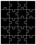 Teile des schwarzen Puzzlespiels Stockfoto