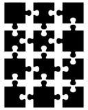Teile des schwarzen Puzzlespiels Stockfotos
