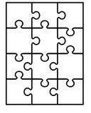 Teile des weißen Puzzlespiels Stockfotografie