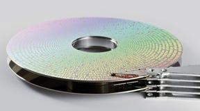 Teile Festplattenlaufwerk mit Informationen Stockbild