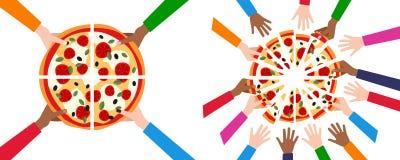 Teilen der Pizza in 4 oder 16 Scheiben u. in Freunden Lizenzfreies Stockbild