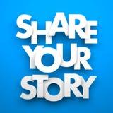 Teilen Sie Ihre Geschichte Stockbild