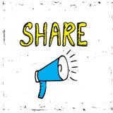 Teilen Sie Ikonenmegaphon - Kommunikations- und Förderungsstrategie mit Social Media lizenzfreie abbildung