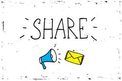 Teilen Sie Ikonenmegaphon - Kommunikations- und Förderungsstrategie mit Social Media stock abbildung