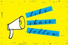 Teilen Sie Ikonenmegaphon - Kommunikations- und Förderungsstrategie mit Social Media auf gelbem Hintergrund lizenzfreie abbildung