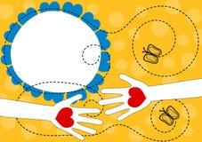 Teilen von Liebes-Händen mit Herz-Gruß-Karte vektor abbildung