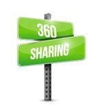 teilendes 360 Verkehrsschild-Illustrationsdesign Stockbilder