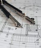 Teiler auf Architekturplan Lizenzfreie Stockfotos