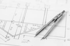 Teiler auf technischer Zeichnung Stockbild
