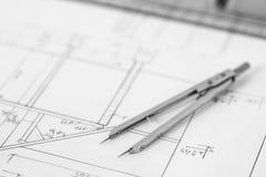 Teiler auf technischer Zeichnung Lizenzfreies Stockbild