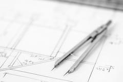 Teiler auf technischer Zeichnung Stockfoto