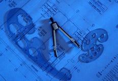 Teiler auf Zeichnungsplan Lizenzfreie Stockfotos