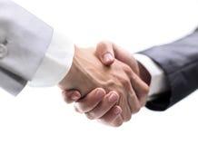 Teilhaber, die Hände rütteln Stockfoto