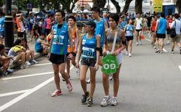 Teilnehmer am allgemeinen Marathonereignis, Singapur Lizenzfreie Stockbilder